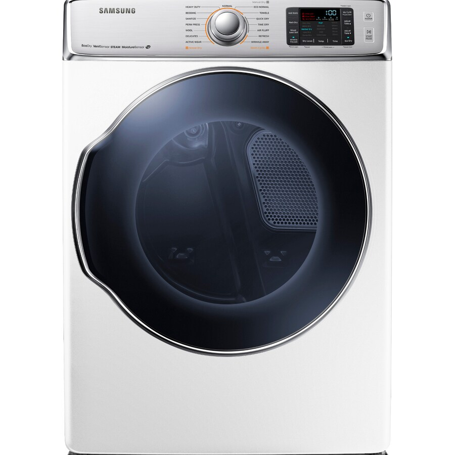Samsung 9.5-cu ft Stackable Electric Dryer with Steam Cycles (White)