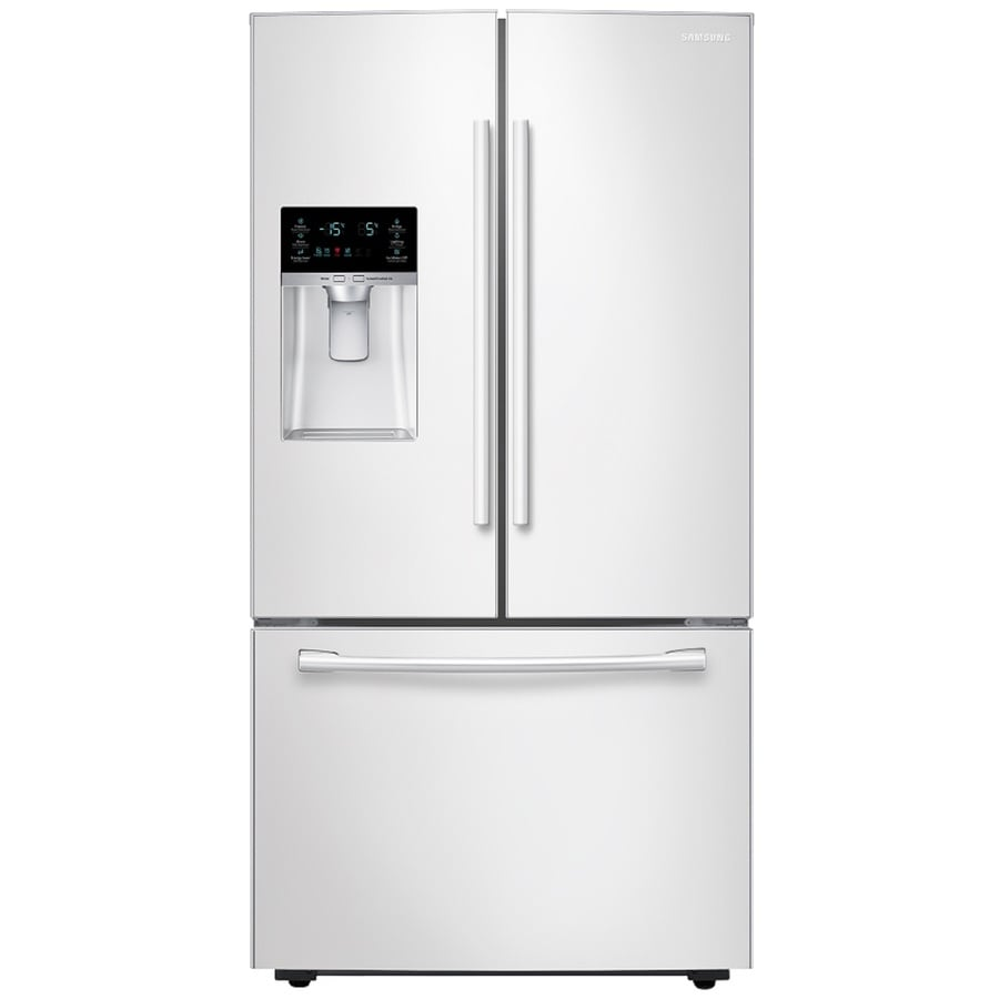 Samsung 22.5-cu ft Counter-Depth French Door Refrigerator with Single Ice Maker (White) ENERGY STAR