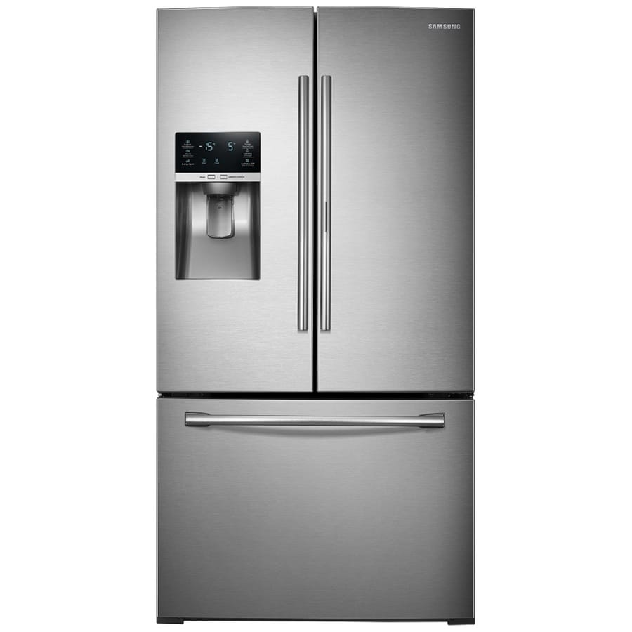 Shop samsung 27 8 cu ft french door refrigerator with dual for 8ft french doors
