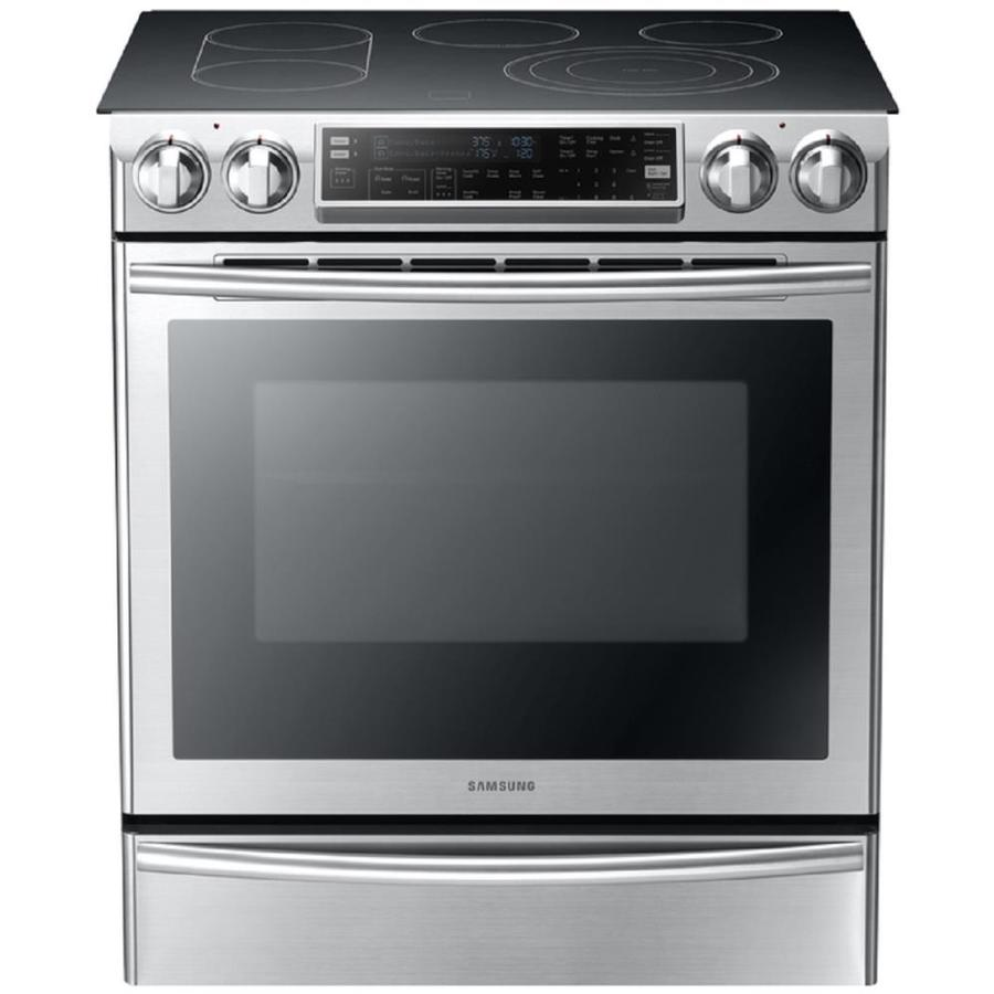 Samsung Smooth Surface 5-Element Slide-In Convection Electric Range (Stainless Steel) (Common: 30-in; Actual 29.8-in)