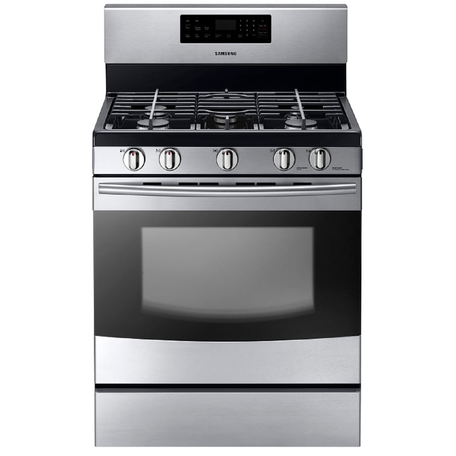 Samsung 5-Burner Freestanding 5.8-cu Self-Cleaning Gas Range (Stainless Steel) (Common: 30-in; Actual: 29-in)