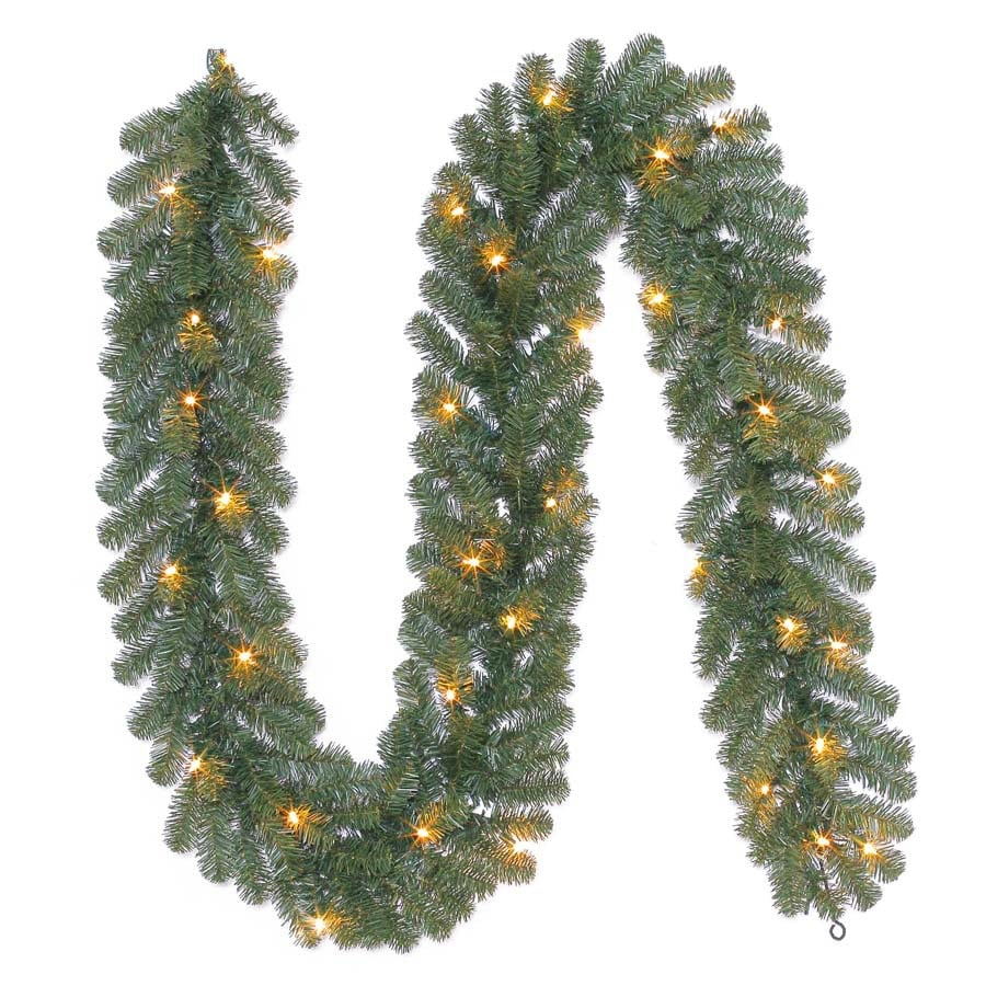 Holiday Living 10-in x 9-ft Pre-Lit Indoor/Outdoor Ellston Pine Artificial Christmas Garland with White Incandescent Lights