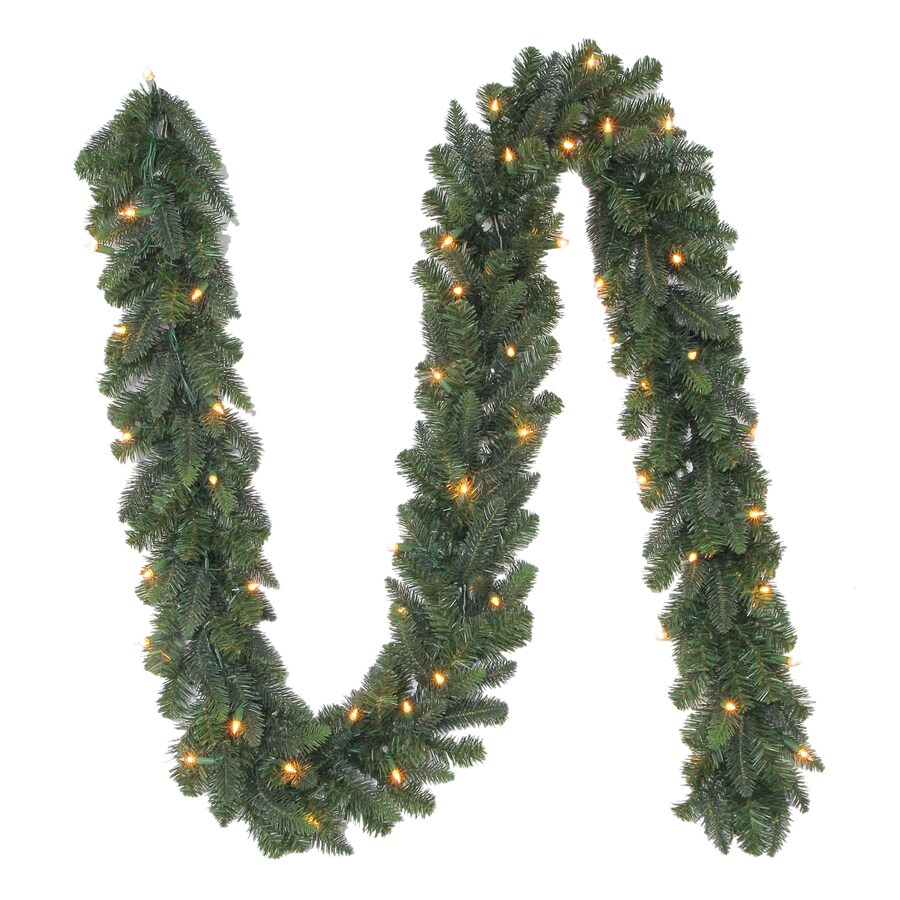 Holiday Living 9.5-in x 9-ft Pre-Lit Indoor/Outdoor Balsam Pine Artificial Christmas Garland with White Incandescent Lights