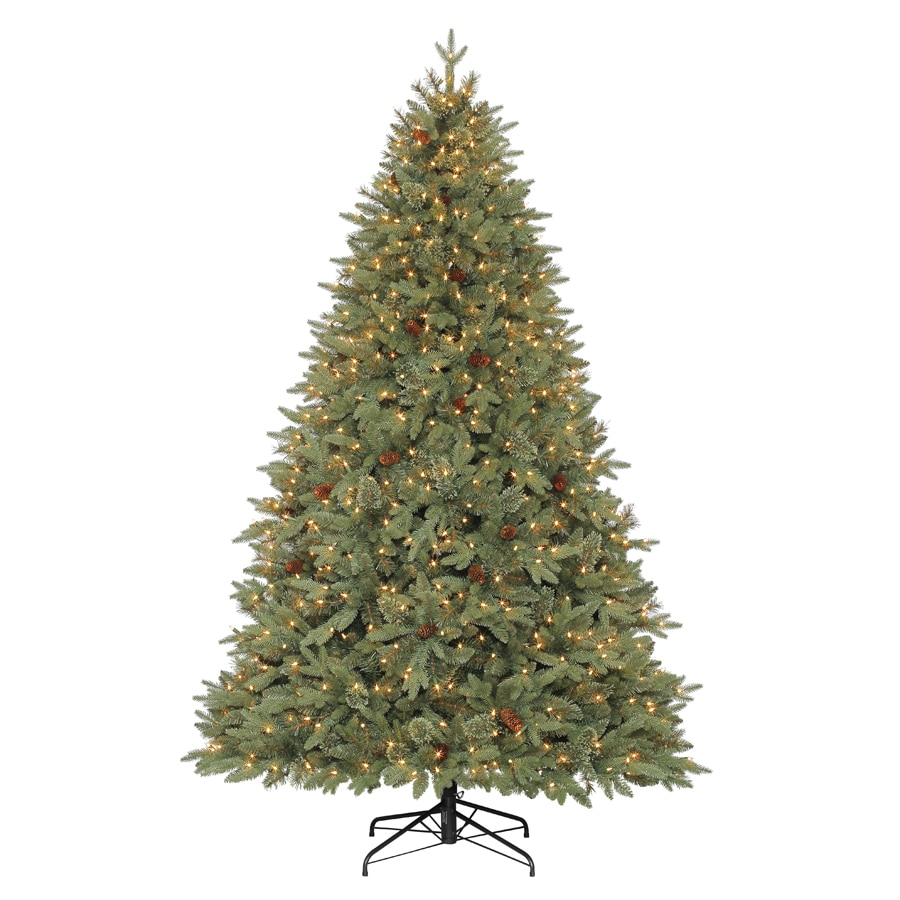 shop holiday living 7 5 ft pre lit hayden pine artificial christmas tree with white clear. Black Bedroom Furniture Sets. Home Design Ideas