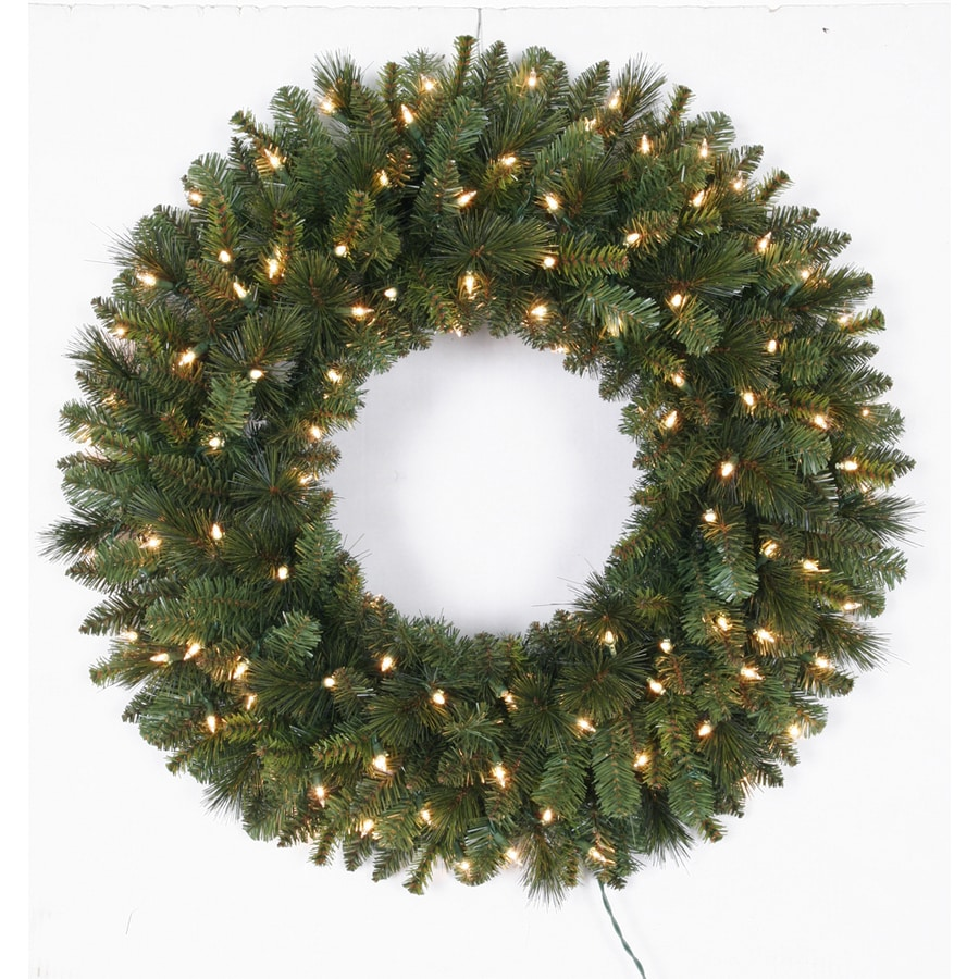 Holiday Living 30-in Pre-Lit Indoor/Outdoor Pine Artificial Christmas Wreath with White Clear Incandescent Lights