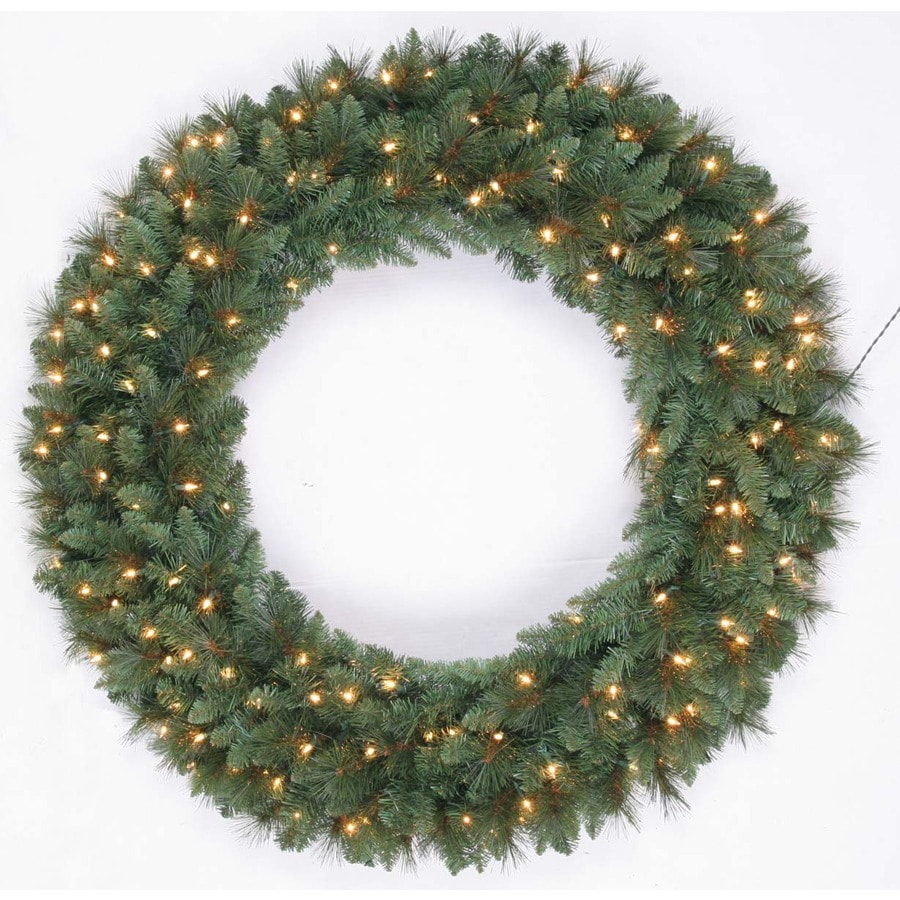 Shop holiday living 48 in pre lit indoor outdoor for Led wreath outdoor