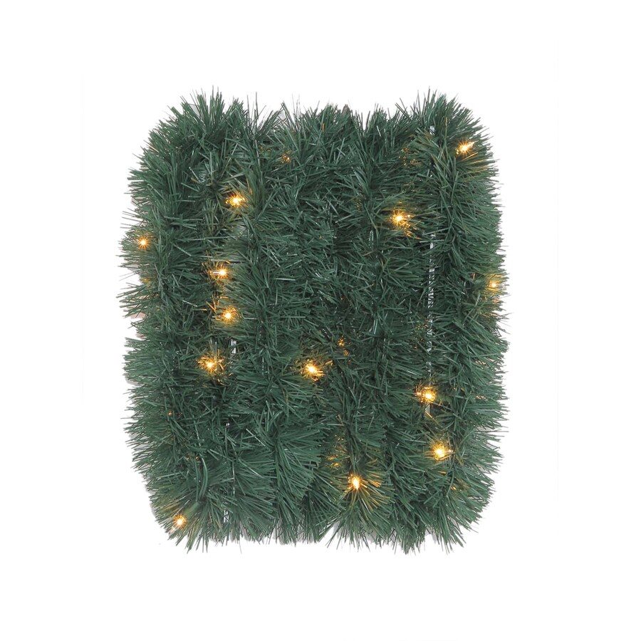 Holiday Living Indoor/Outdoor Pre-Lit 18-ft L Soft Pine Garland with White Incandescent Lights
