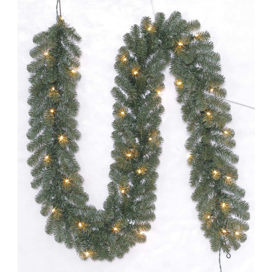 Holiday Living Indoor/Outdoor Pre-Lit 9-ft L Ellston Pine Garland with White Incandescent Lights