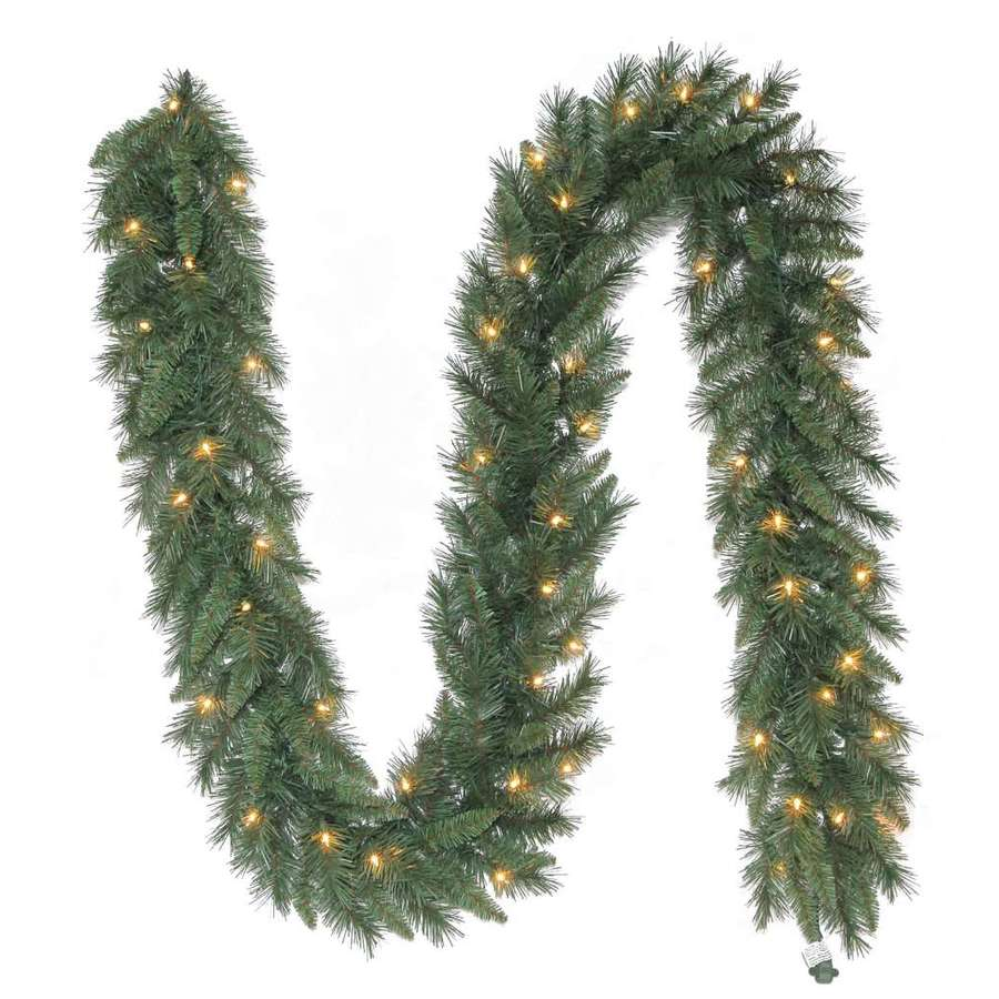 Shop Holiday Living Indoor Outdoor Pre Lit 9 Ft L Pine Garland With White Incandescent Lights At