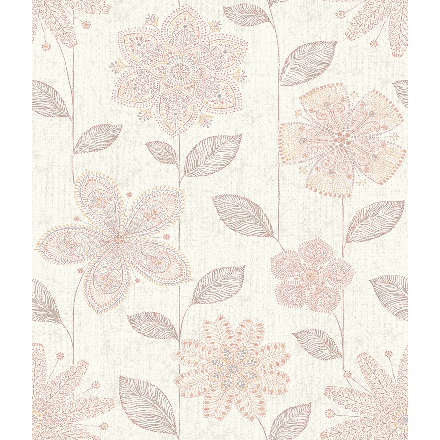 Brewster Wallcovering Pink Strippable Non-Woven Paper Unpasted Classic Wallpaper