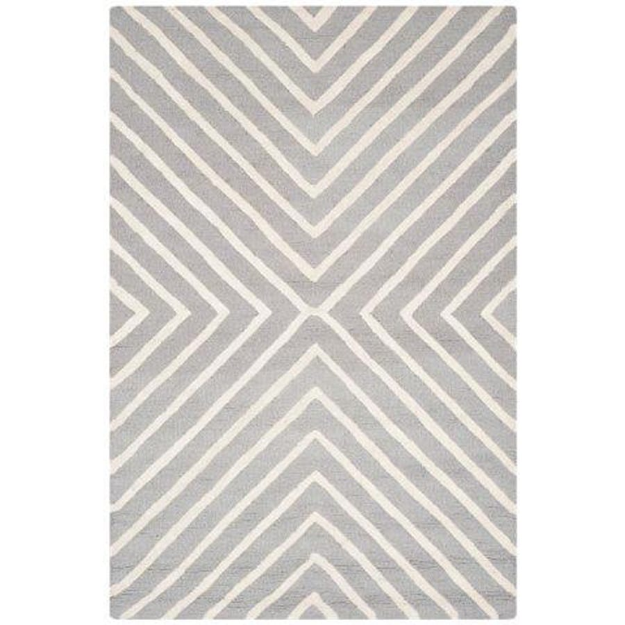 Safavieh Cambridge Silver and Ivory Rectangular Indoor Tufted Area Rug (Common: 5 x 7; Actual: 60-in W x 84-in L x 0.5-ft Dia)