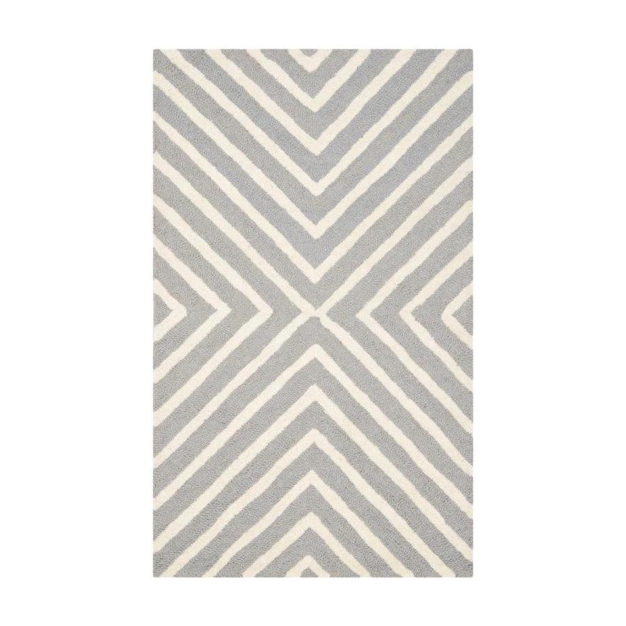 Safavieh Cambridge Silver and Ivory Rectangular Indoor Tufted Throw Rug (Common: 2 x 3; Actual: 27-in W x 45-in L x 0.33-ft Dia)