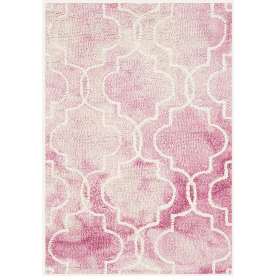 Safavieh Dip Dye Rose and Ivory Rectangular Indoor Tufted Throw Rug (Common: 2 x 3; Actual: 24-in W x 36-in L x 0.33-ft Dia)