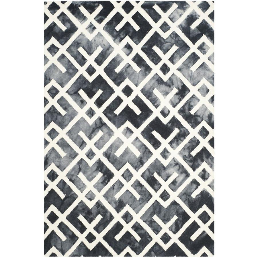 Safavieh Dip Dye Graphite and Ivory Rectangular Indoor Tufted Area Rug (Common: 4 x 6; Actual: 48-in W x 72-in L x 0.5-ft Dia)