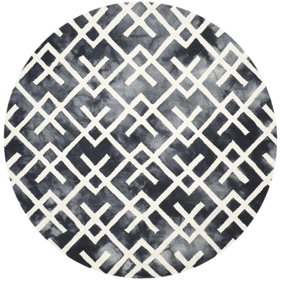 Safavieh Dip Dye Graphite and Ivory Round Indoor Tufted Area Rug (Common: 7 x 7; Actual: 84-in W x 84-in L x 0.58-ft Dia)
