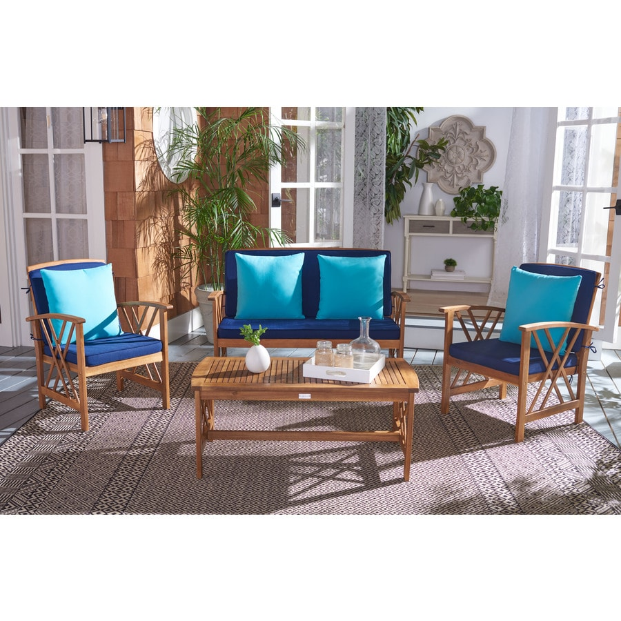 Concord 6 Person Wooden Folding Garden Furniture Set with Seat Cushions