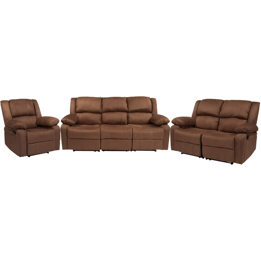 Flash Furniture Harmony Series Chocolate Brown Microfiber Living Room Set In The Living Room Sets Department At Lowes Com