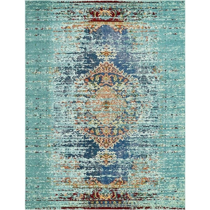 Unique Loom Warhol Vita 8 X 10 Turquoise Navy Blue Indoor Medallion Oriental Area Rug In The Rugs Department At Lowes Com