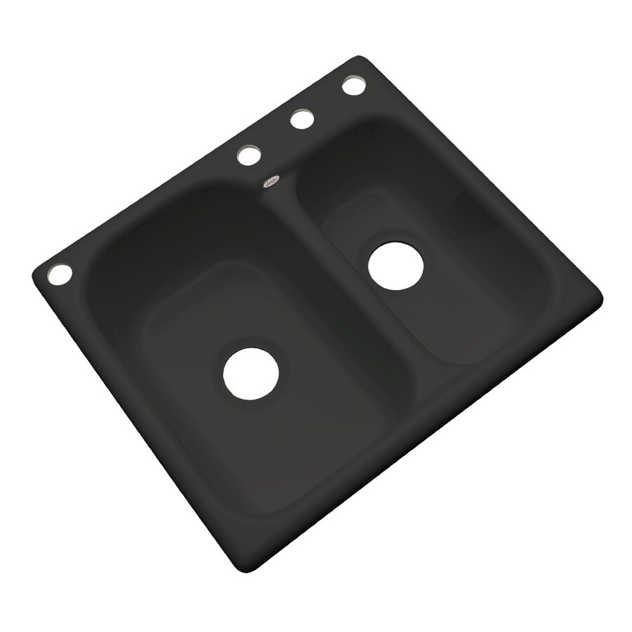 Dekor Master 22-in x 25-in Black Double-Basin Acrylic Drop-In 2-Hole Residential Kitchen Sink