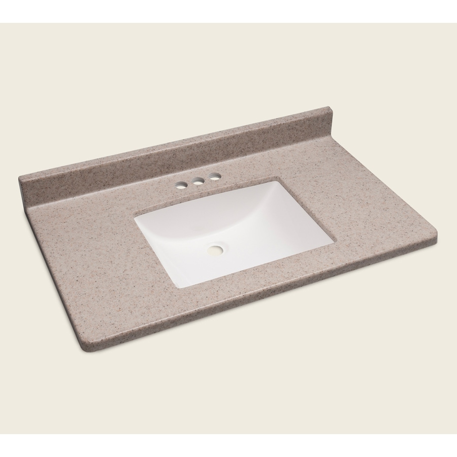 Style Selections Vanity Natural Cultured Marble Integral Single Sink Bathroom Vanity Top (Actual: 37-in x 22-in)