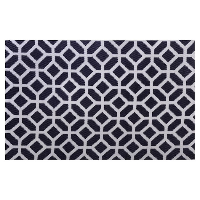 Garden Treasures 4 X 6 Navy White Indoor Outdoor Geometric Area Rug In The Rugs Department At Lowes Com