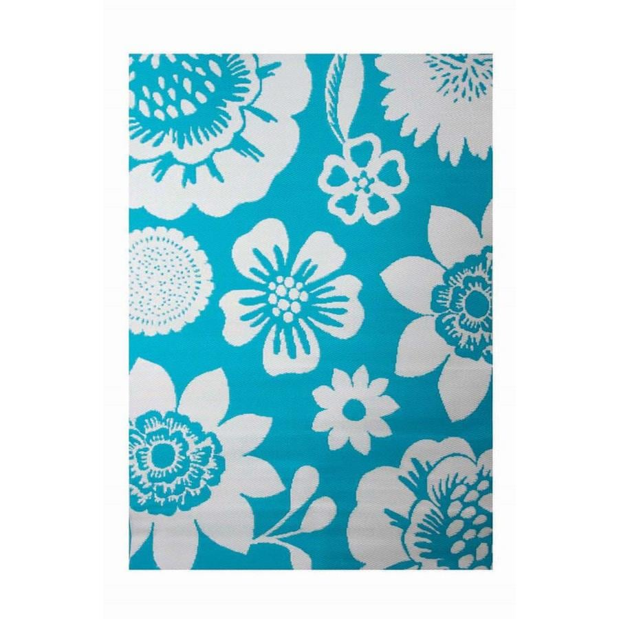 Shop garden treasures turquoise rectangular indoor and for Woven vinyl outdoor rugs