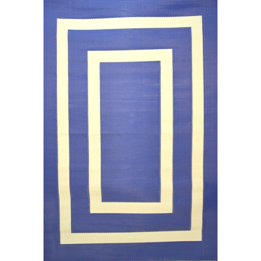 Garden Treasures Rectangular Blue Geometric Indoor/Outdoor Area Rug (Common: 5-ft x 8-ft; Actual: 5-ft 3-in x 7-ft 7-in)