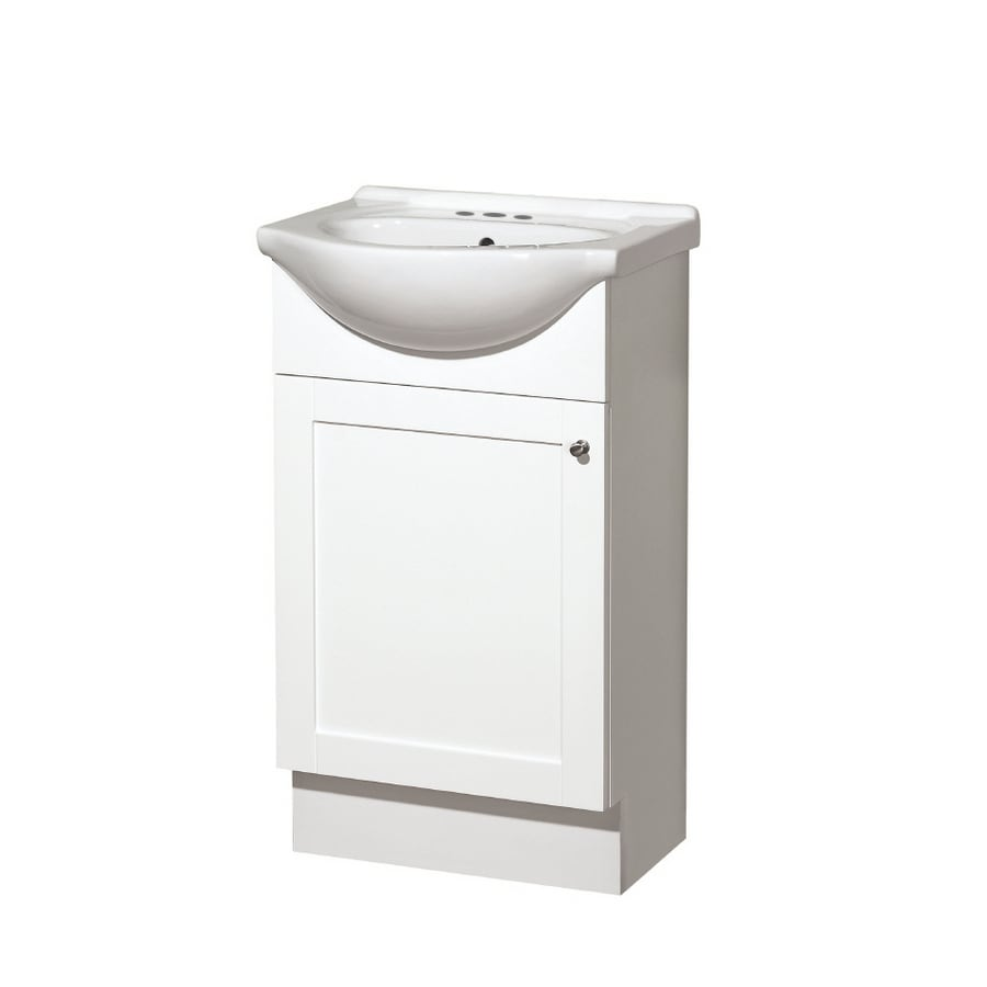 Style Selections Euro Style White Belly Sink Single Sink Bathroom Vanity with Vitreous China Top (Common: 20-in x 17-in; Actual: 20-in x 17-in)
