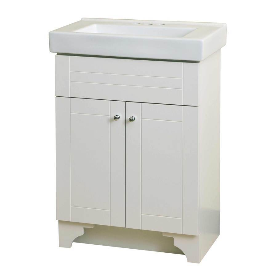 Style Selections White Integral Single Sink Bathroom Vanity with Vitreous China Top (Common: 24-in x 14-in; Actual: 24.18-in x 14.18-in)