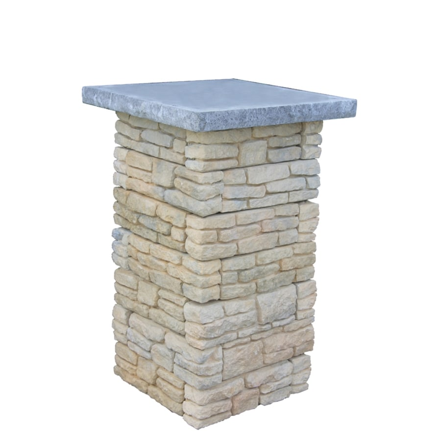 Nantucket Pavers Meadow Wall Pier with Flat Cap Tan Variegated Pillar Patio Block Project Kit