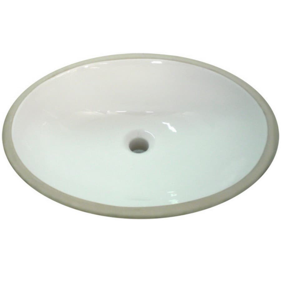 Shop AquaSource White Undermount Oval Bathroom Sink With Overflow At
