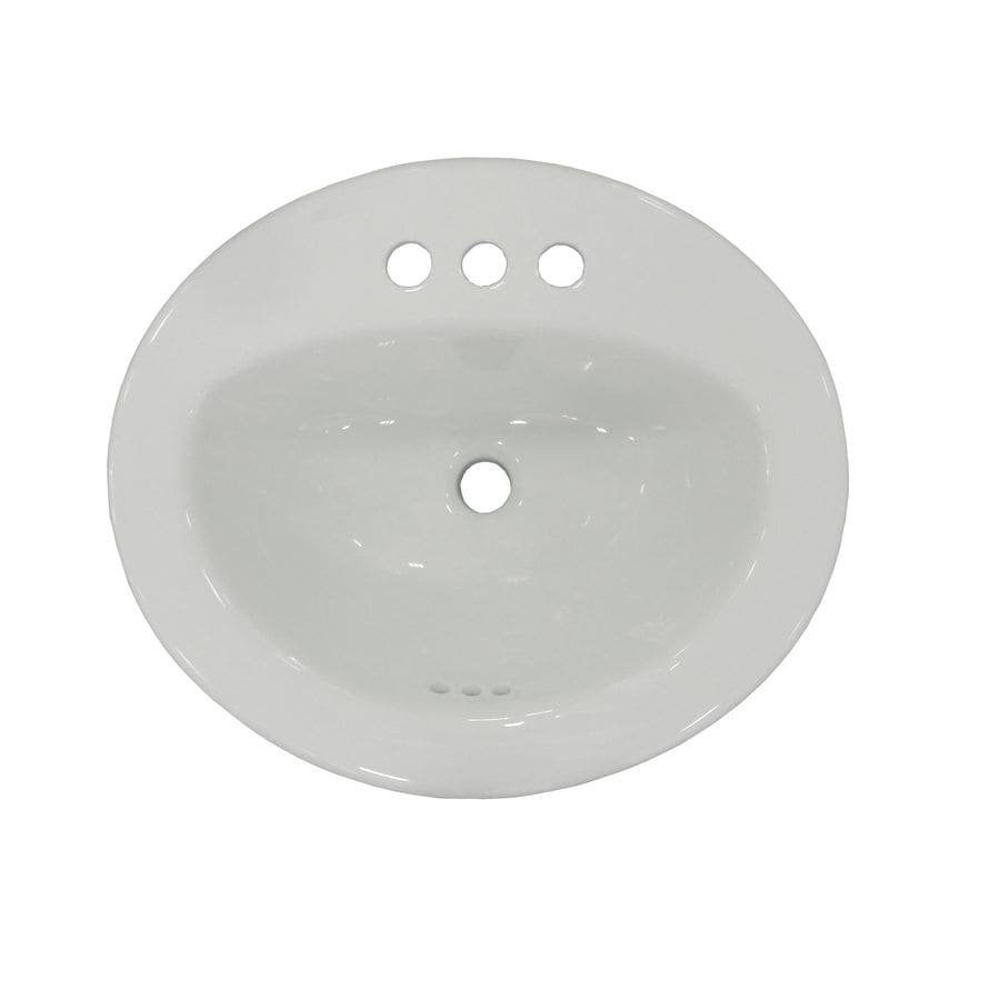 White Drop-In Oval Bathroom Sink with Overflow Product Photo