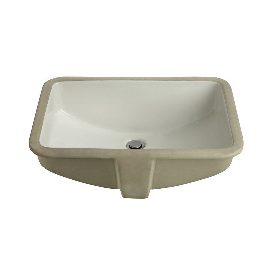 White Undermount Rectangular Bathroom Sink with Overflow Product Photo
