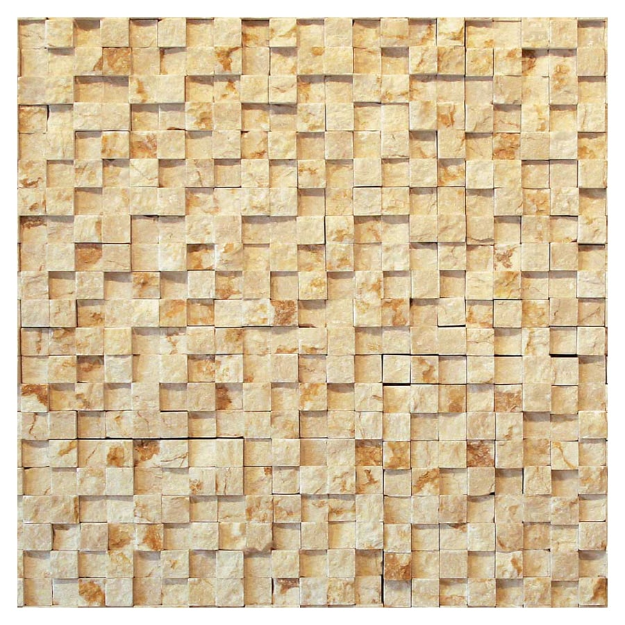 Solistone 5-Pack Cubist Cezanne Split Face Natural Stone Mosaic Square Indoor/Outdoor Wall Tile (Common: 12-in x 12-in; Actual: 12-in x 12-in)