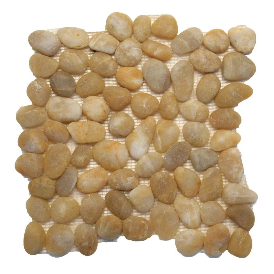 Solistone Anatolia Pebbles 10-Pack Honed Turkish Amber Mosaic Floor Tile (Common: 12-in x 12-in; Actual: 12-in x 12-in)