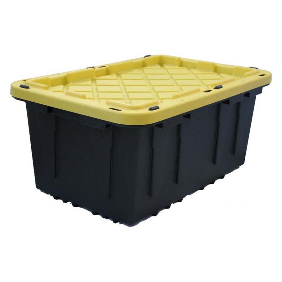 J. Terence Thompson Plastic 27 Gal. Snap Lid Tote Yellow/Black