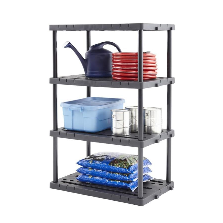 Blue Hawk 56.5-in H x 36-in W x 24-in D 4-Tier Plastic Freestanding Shelving Unit