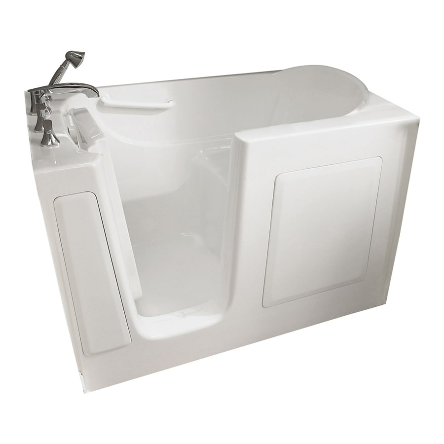 American Standard Walk-In Baths 48-in L x 28-in W x 37.5-in H White Gelcoat and Fiberglass Rectangular Walk-In Bathtub with Left-Hand Drain