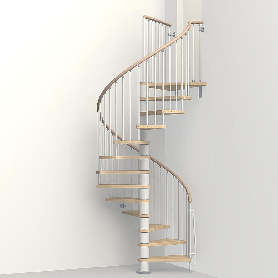 Arke Phoenix 63-in x 10-ft White Spiral Staircase Kit