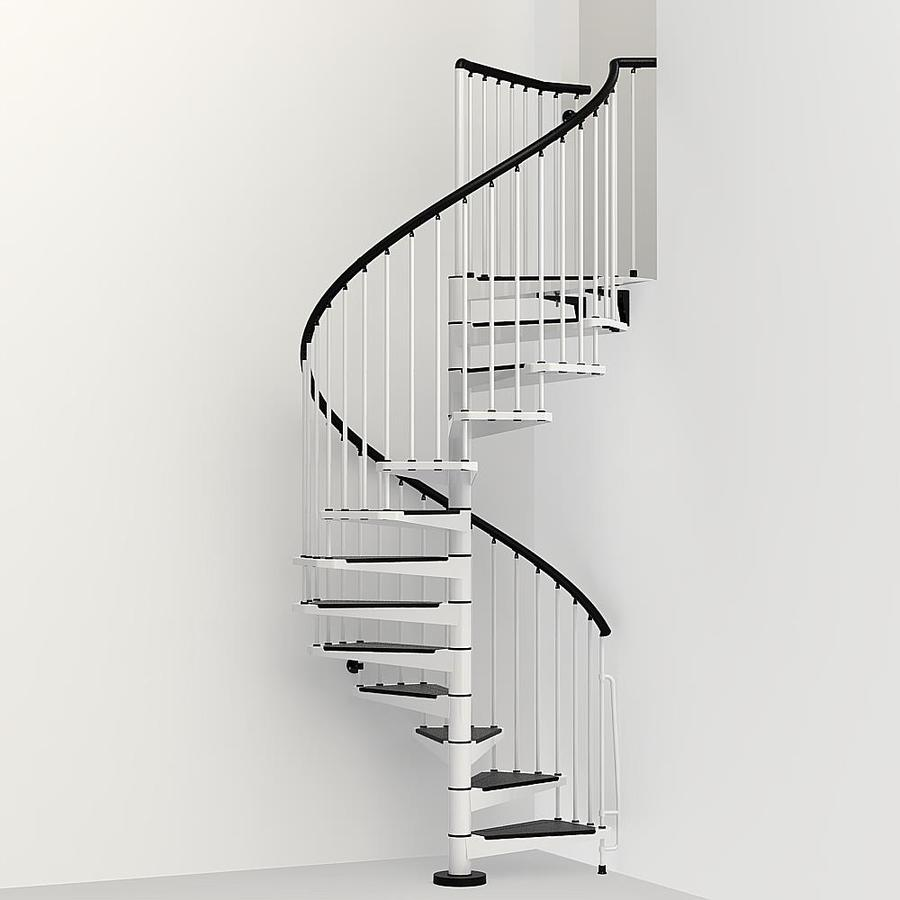 Arke Civik 55-in x 10-ft White Spiral Staircase Kit