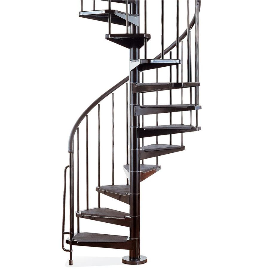Shop arke civik 47 in x 10 ft black spiral staircase kit - Exterior metal spiral staircase cost ...
