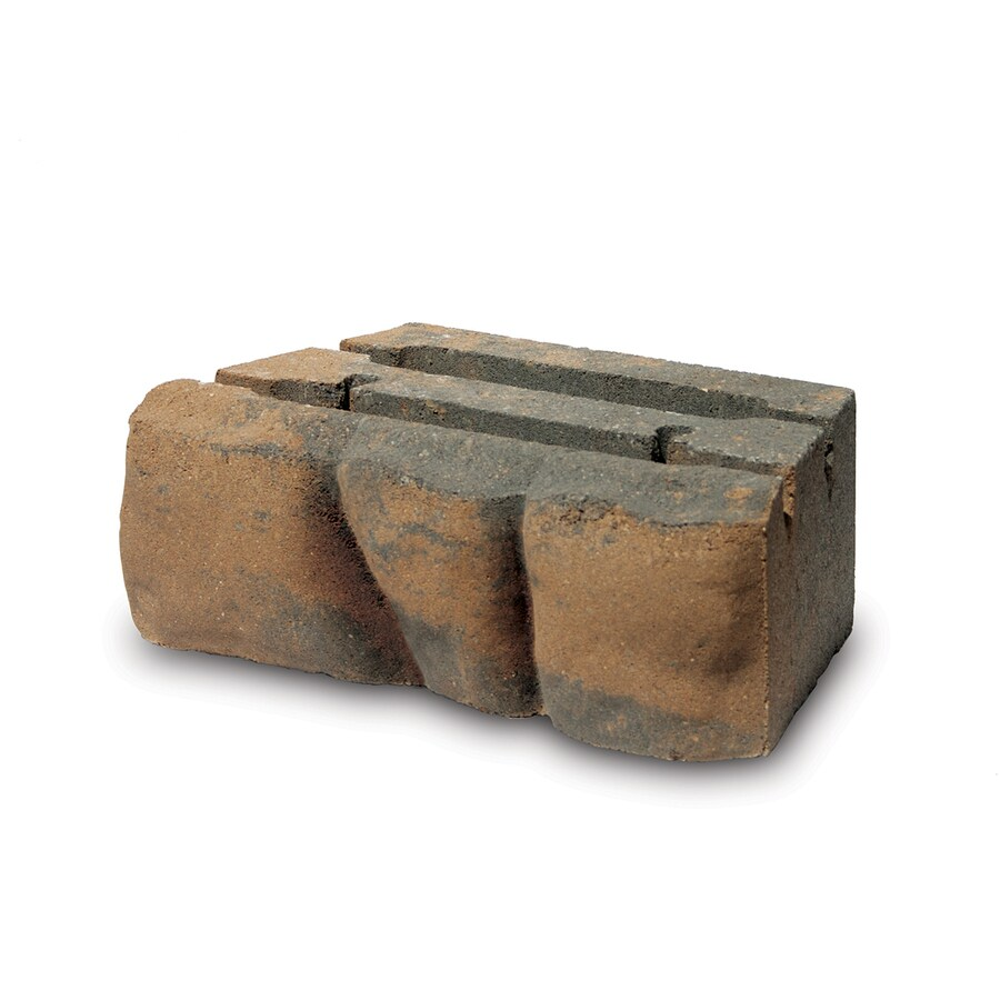 Tan/Charcoal Rounded Fieldstone Texture Concrete Retaining Wall Block (Common: 12-in x 4-in; Actual: 12-in x 4-in)