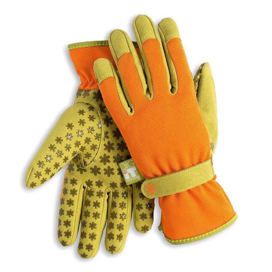 Dig It Handwear Women's Large Orange/Green Polyester Garden Gloves
