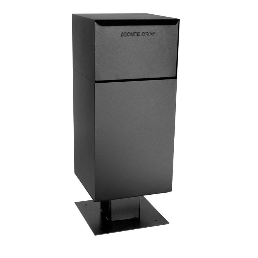 dVault 19-in x 52-in Metal Black Lockable Post Mount Mailbox
