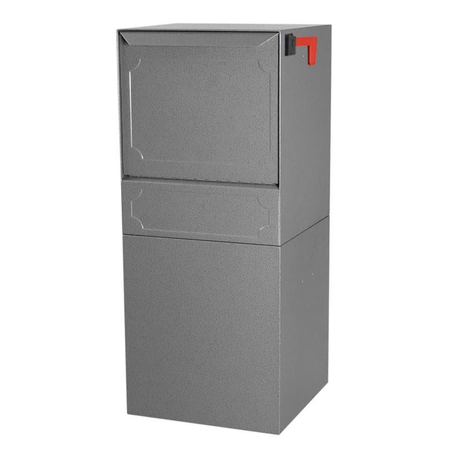 dVault 14.5-in x 34.25-in Metal Gray Lockable Post Mount Mailbox