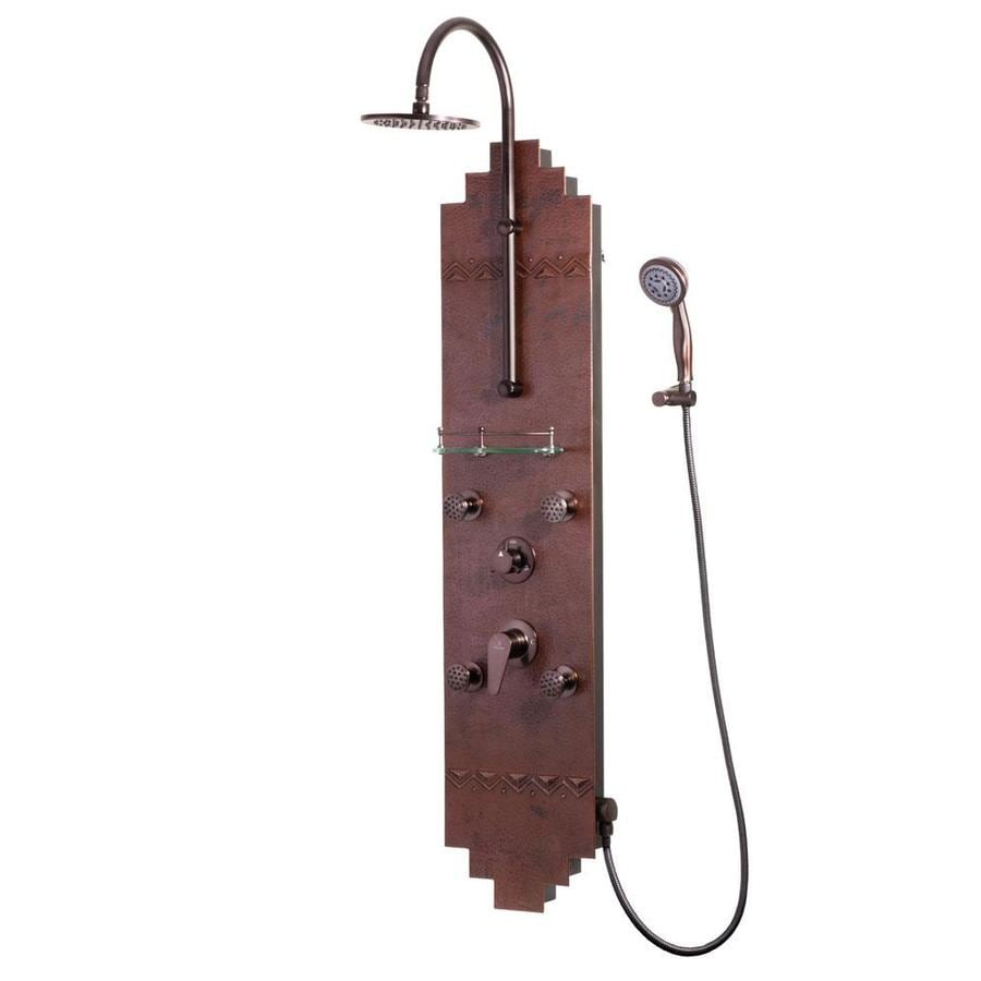 PULSE Navajo 3-Way Hammered Copper with Oil-Rubbed Bronze Fixtures Shower Panel System