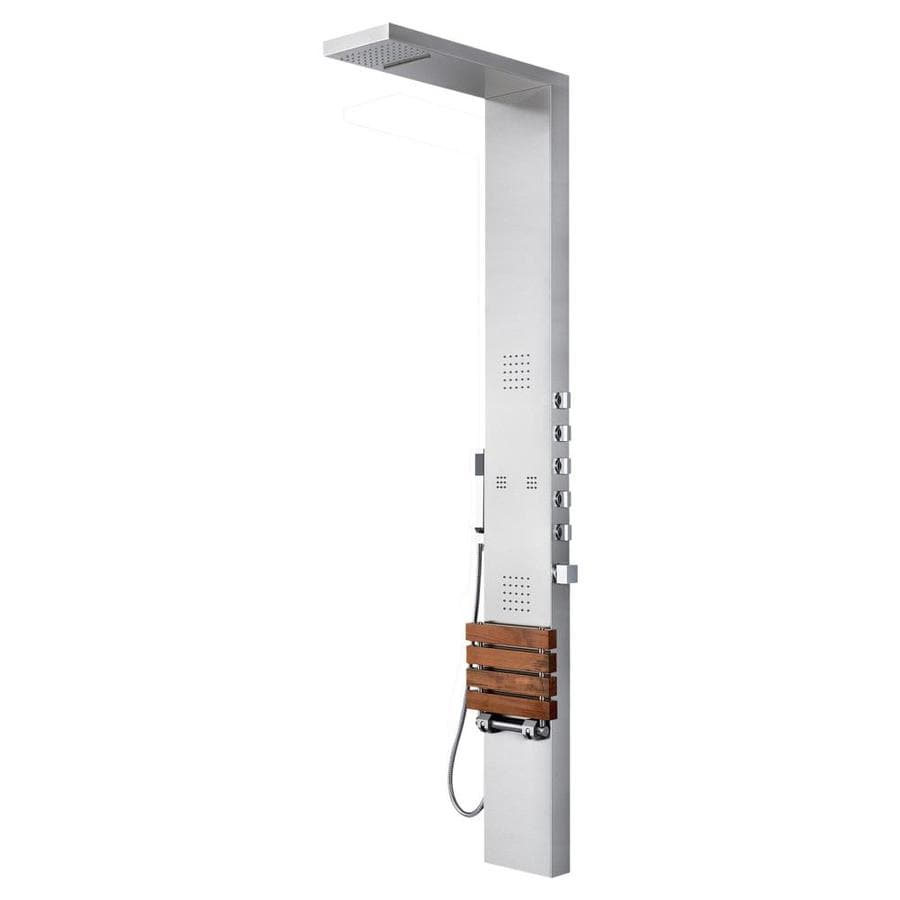 PULSE Oahu 4-Way Matte Brushed Stainless-Steel with Chrome Fixtures Shower Panel System