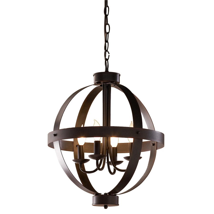 allen + roth 18-in Antique Rustic Bronze Rustic Single Pendant