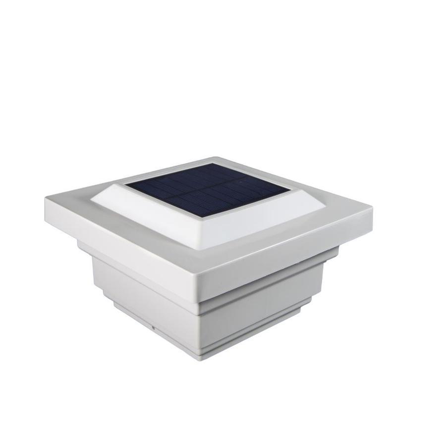 Classy Caps Regal White Solar LED PVC Deck Post Caps (Fits Common Post Measurement: 4-in x 4-in; Actual: 3.75-in x 7-in x 7-in)