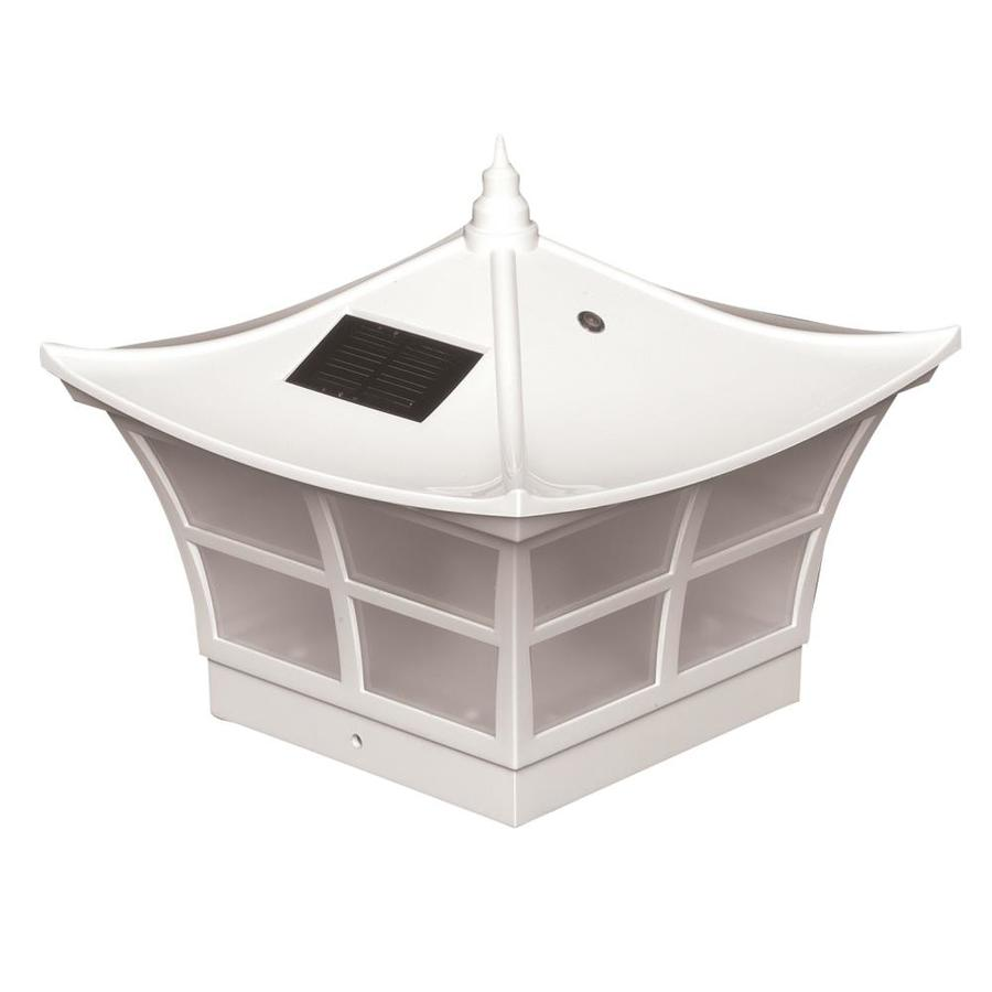 Classy Caps Ambience White Solar LED PVC Deck Post Cap (Fits Common Post Measurement: 5-in x 5-in; Actual: 7.5-in x 8-in x 8-in)